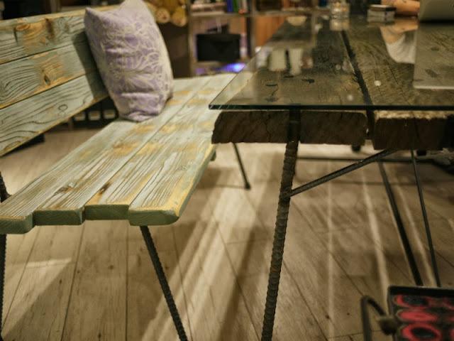 枕木テーブル ユーカリ 中古 鉄筋