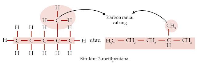 Struktur 2-metilpentana Karbon rantai cabang