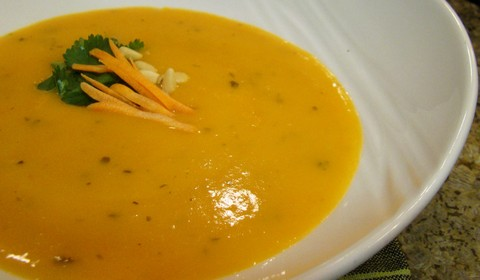 Creamy Carrot Soup with Pine Nuts and Onion