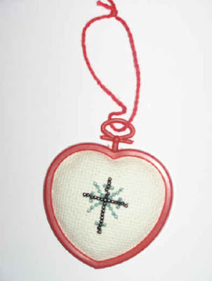 Cross stitch heart ornament 1
