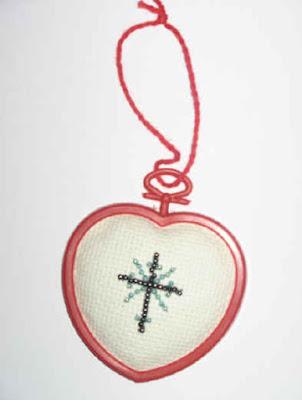 Cross stitch heart ornament 1