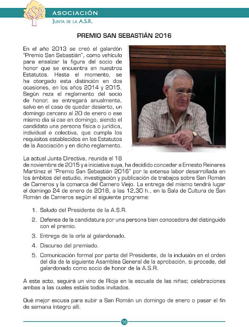 San Román de Cameros, Ernesto Reinares, Premio San Sebastián 2016, 25 de enero.