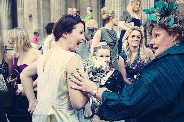 guest congratulating bride after ceremony at Marylebone Town Hall wedding