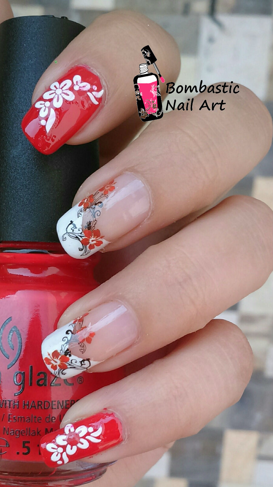 Red Flower Nail Art with Water Decal and French Manicure – Bombastic ...
