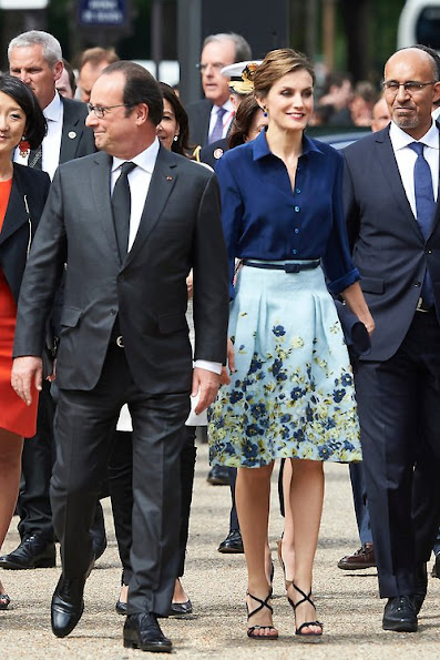 King Felipe of Spain and Queen Letizia of Spain attend the Velasquez painting exhibition at the Grand Palais