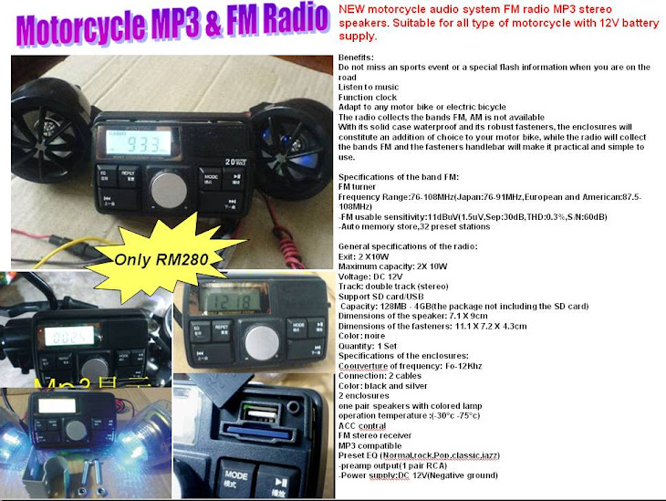 Motorcycle MP3 + Radio - RM280