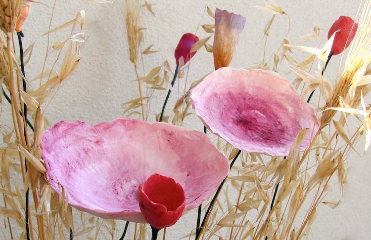 Matrimonio country : centrotavola di fiori di carta , rosso arancio fatti a mano
