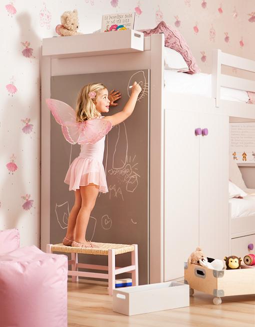 Espacio style como aprovechar mejor un dormitorio infantil - Pintar pared pizarra ...