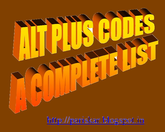 ALT Codes-List of Important Alt+Number Codes and Symbols to Appear