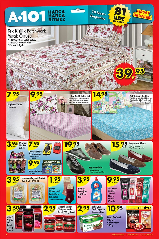 A101 10 Nisan Perşembe 2014 Aktüel Ürünler Kataloğu yayımlandı. Bu katalog ile A101 markete 10 Nisan Perşembe 2014 tarihinde gelecek ürünleri görebilir ve fiyatları hakkında bilgi sahibi olabilirsiniz,,Yatak Örtüsü Patch yatak Örtüsü 39,95 Bay Bayan Ayakkabılar ,Tek Kişilik Ve Çift Kişilik Fitted Setlerin Fiyatlarını Bulabilirsiniz.