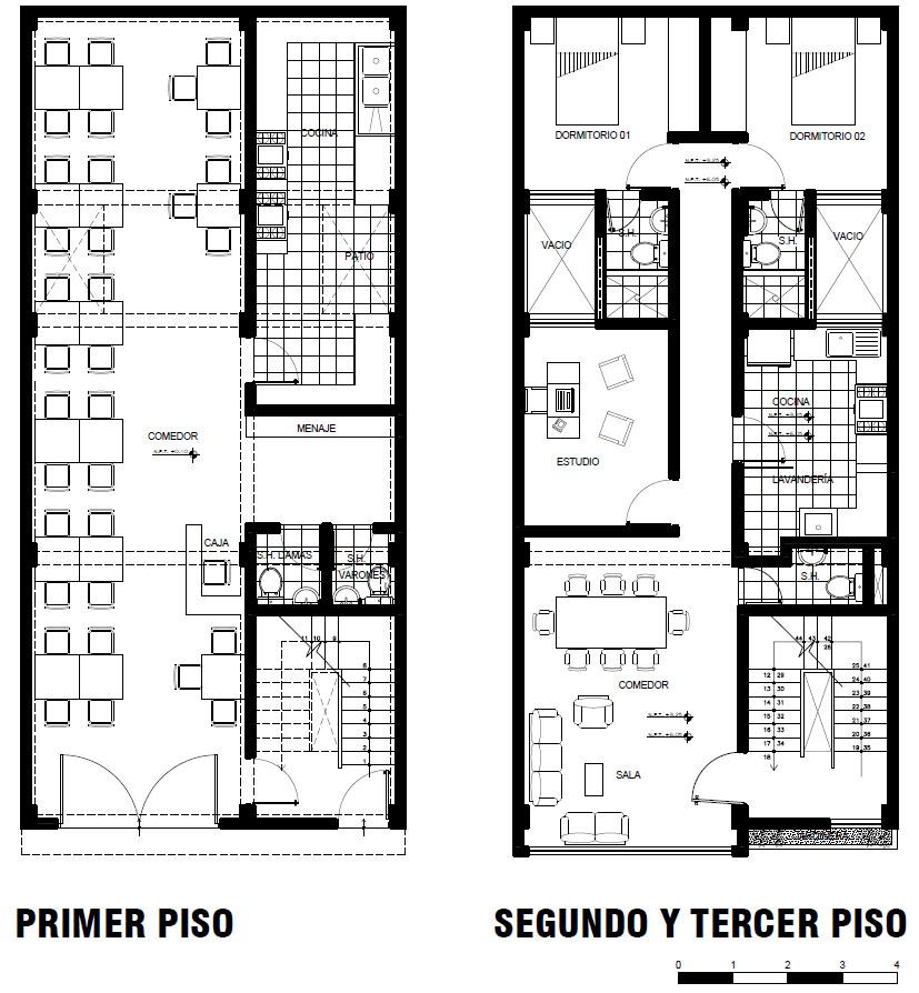 Cristian campos vivienda bifamiliar con local comercial for Creador de planos sencillos para viviendas y locales