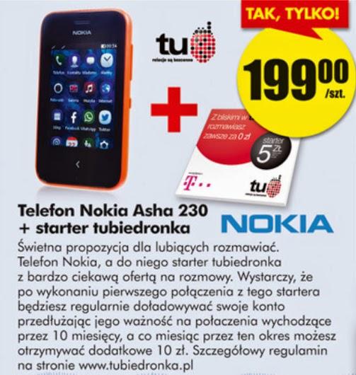 Telefon Nokia Asha 230 z Biedronki ulotka