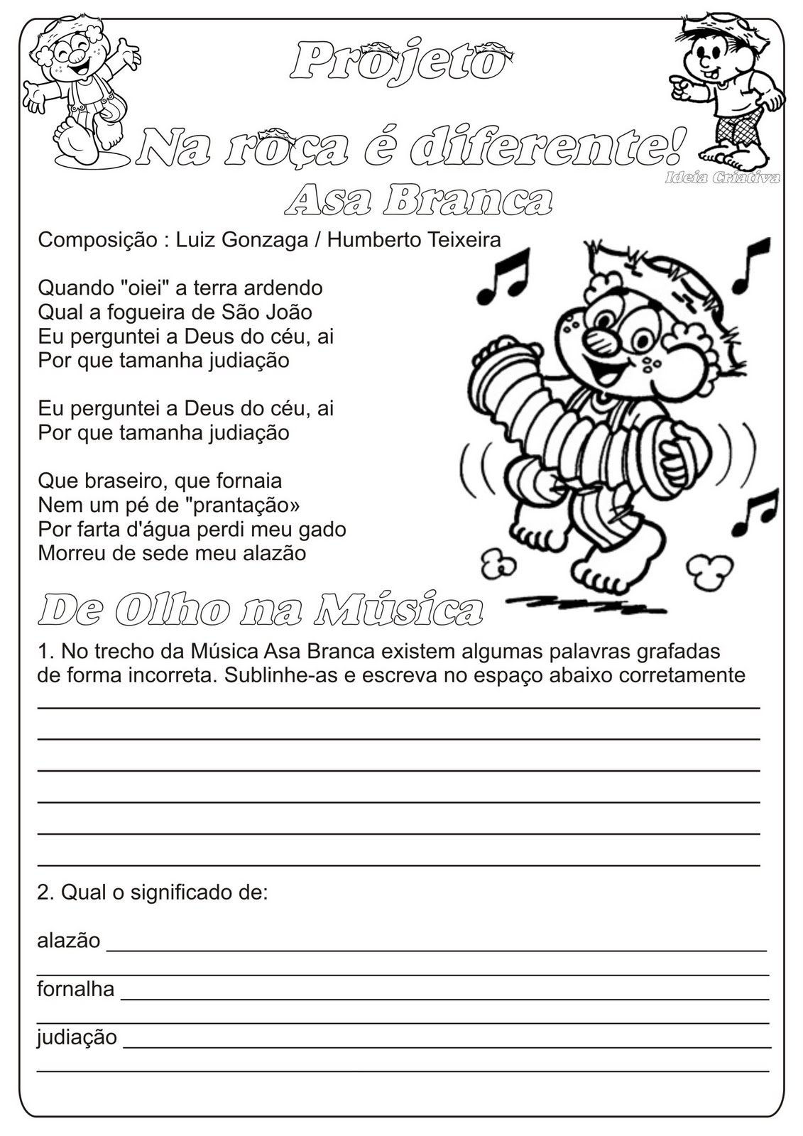 Atividade Música e Interpretação Temática Festas Juninas Ortografia  Dicionário