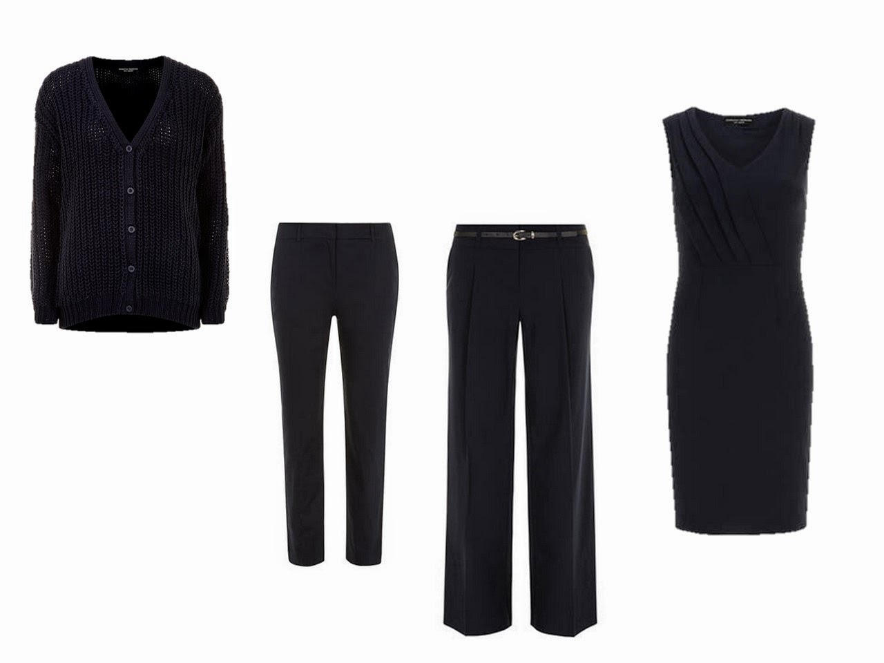 four navy garments core of four navy cardigan two pants and a dress