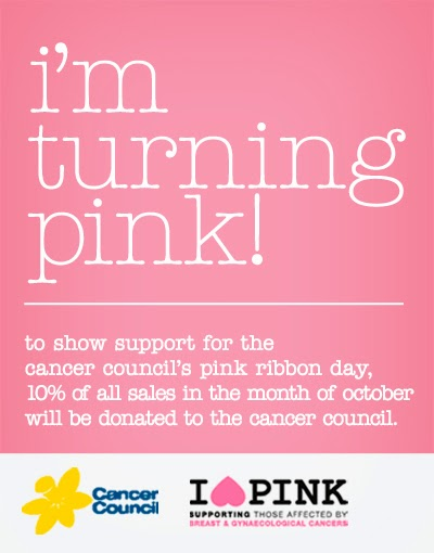 I'm turning pink to show support for the cancer council's pink ribbon day!