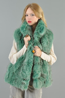 Vintage 1980's fluffy emerald green fox fur gillet vest.