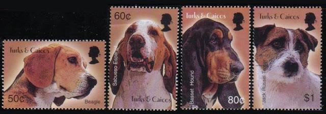 年度不明タークス・カイコス諸島 ビーグル、サブエソ・エスパニョール、バセット・ハウンド、ジャック・ラッセル・テリアの切手