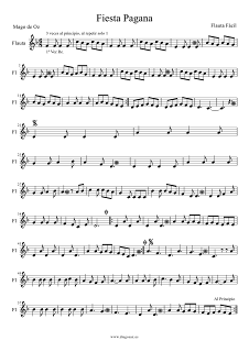 Partitura de Fiesta Pagana Flauta fácil de Mago de Oz Easy Flute Sheet Music   Partitura en una tonalidad fácil para principiantes y personas que estén aprendiendo sax, flauta, trompeta, tenor, clarinete, sax soprano... Más abajo encontraréis las Partituras de Saxo, Flauta, Trombón, Violín, Clarinete, Trompeta, Tenor, Soprano para acompañar y tocar con la música original del grupo.