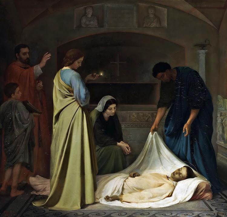 Alejo Vera y Estaca - The Burial of San Lorenzo in the Roman Catacombs (1862)