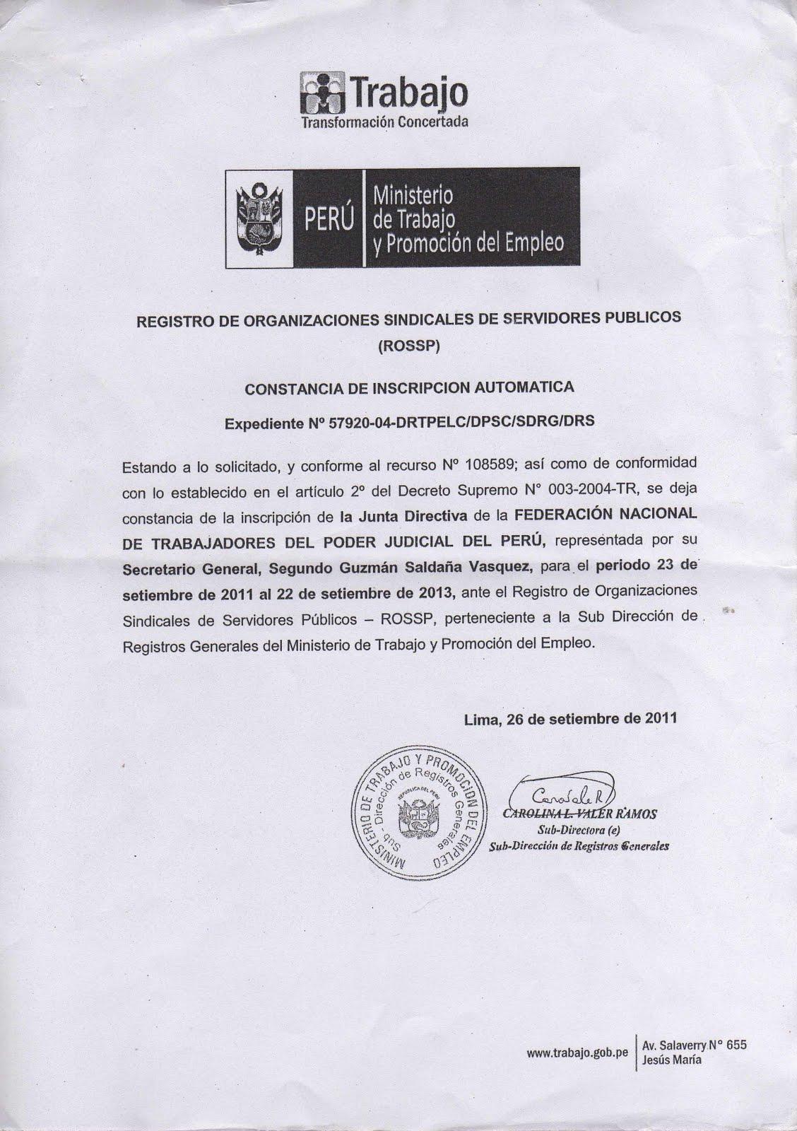 MINISTERIO DE TRABAJO Y PROMOCIÓN DEL EMPLEO OTORGA CONSTANCIA DE