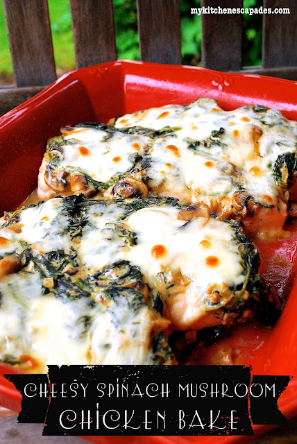Cheesy Spinach Mushroom Chicken Bake - Low carb chicken recipes