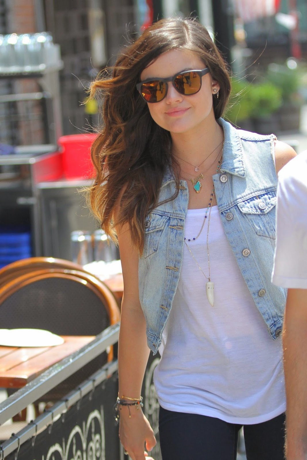 Lucy Hale sports casual street style in New York