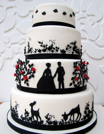 I Just LOVE This Beautiful Wedding Cake In Black And White With A Beautiful  Silhouetted Fairytale   Whimsical, Stylish And Chic!