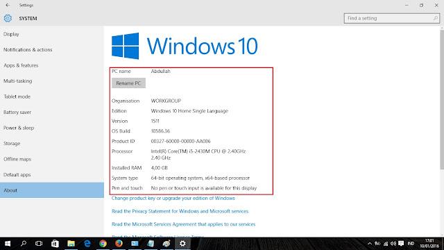 cara mudah mengecek spesifikasi laptop di windows 10