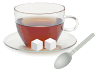 Coffee mug with sugar cubes