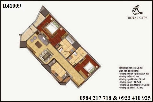 Mua bán căn hộ Hà Nội, khu căn hộ chung cư Royal City, căn hộ R41009 diện tích 101.8 m2 giá 4 tỷ 198 triệu