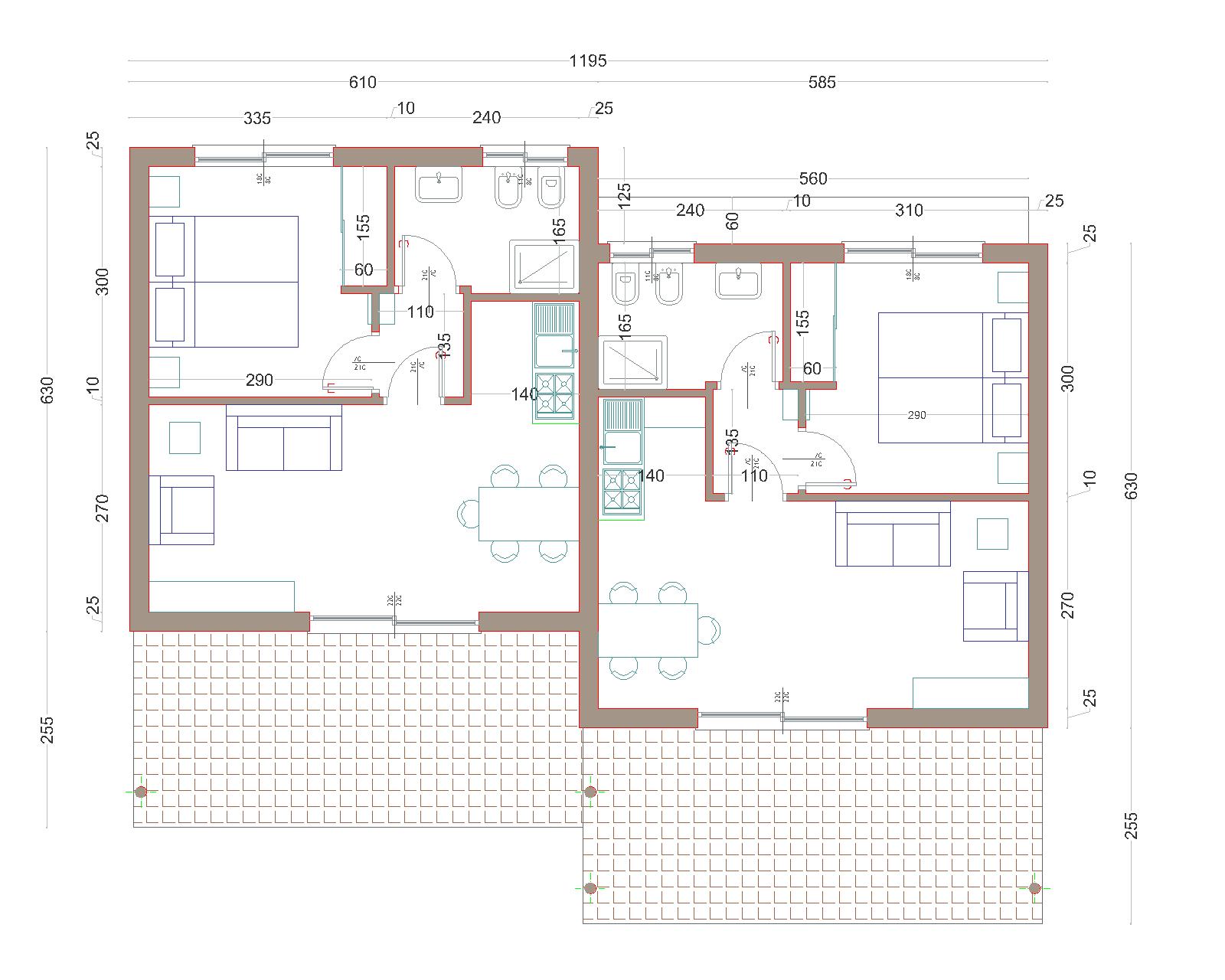 Progetti di case in legno bungalow bilocale 38 mq terrazza for Progetti di case