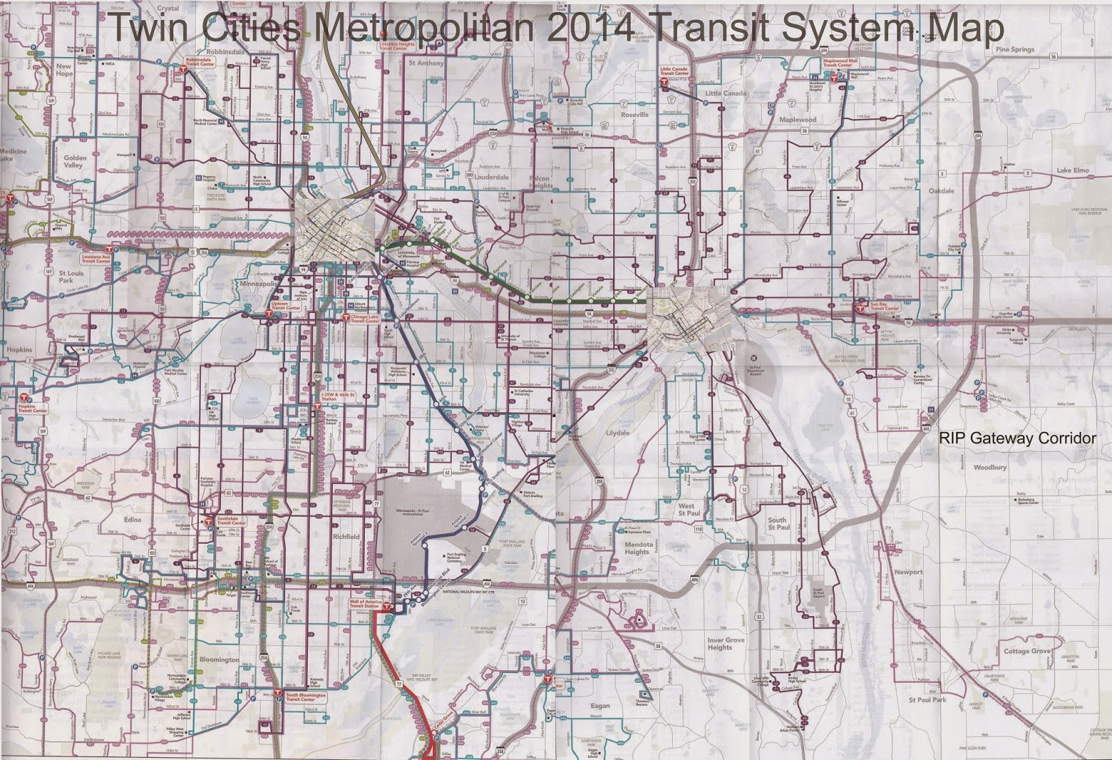 Twin Cities Metropolitan Area Transit System Map 2014