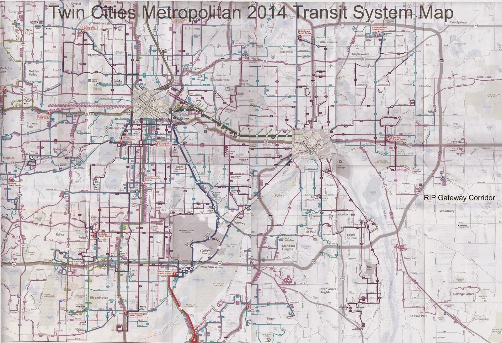 Twin Cities Metropolitan Area Transit System Map 2014
