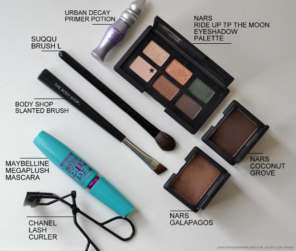 NARS Galapagos Coconut Grove Biarritz Eyeshadows Suqqu L Brush TBS Maybelline Mascara Chanel Eyelash Curler
