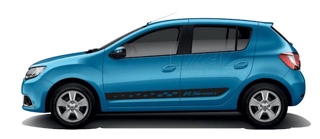 Novo Sandero Renault com kit adesivo RSport lançamento 2015 2016