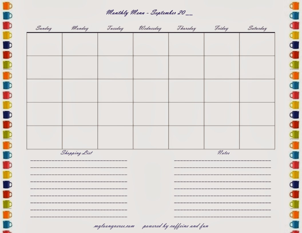 Free Printable Blank Menu Planner/page/2 | Search Results | Calendar ...
