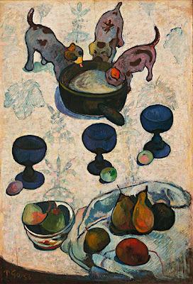 Gauguin- Tisch mit drei fressenden Hündchen,1888