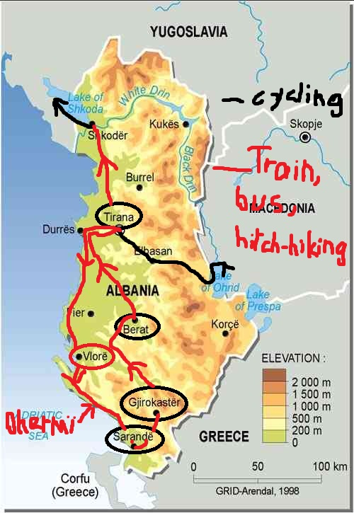 Albania Train Map - Albania physical map