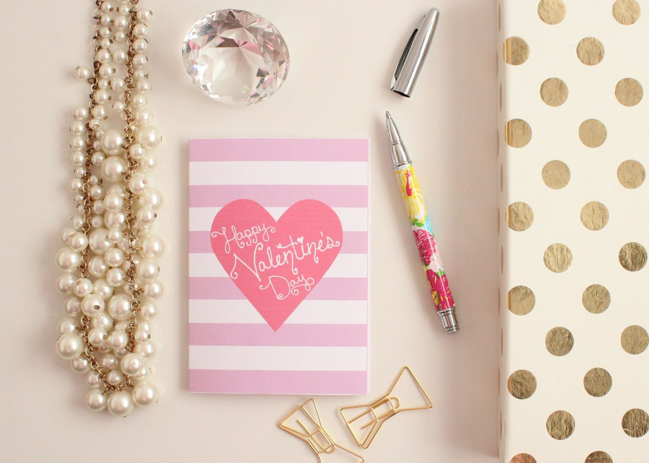 """Happy Valentine's Day"" Printable Valentine's Day Cards by Jessica Marie Design"