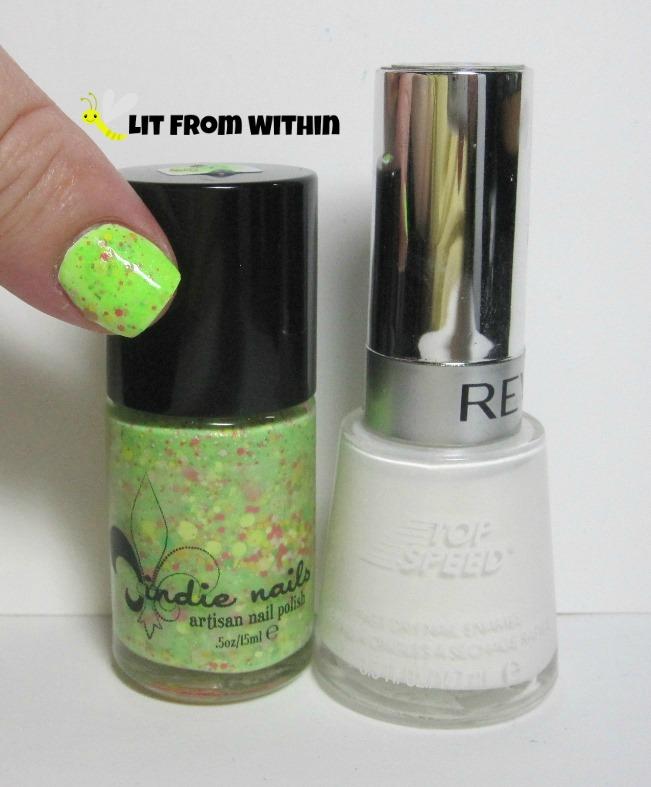 Bottle shot:  Jindie Nails Don't Get It Citrus Twisted, and Revlon Spirit