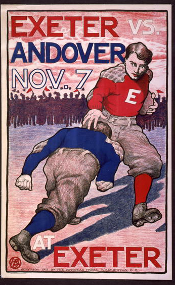 sports, football, vintage, vintage posters, retro prints, graphic design, free download, classic posters, Exeter vs. Andover No. 7 - Vintage Football Sports Poster