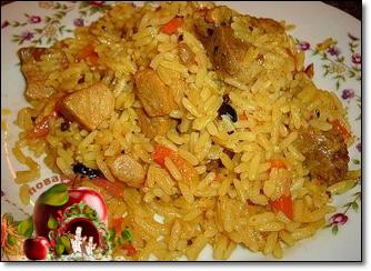 Рис с курицей и тыквой в мультиварке