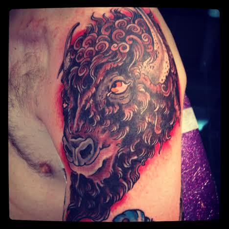 Tattoo of a buffalo by tattoo artist Jason Kunz for Triumph Tattoo