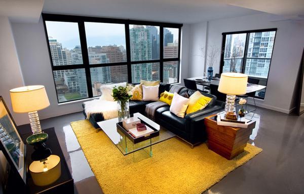 Desain Ruang Tamu dengan Aksen Warna Kuning