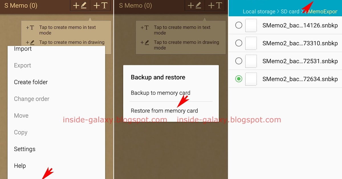 how to open quick memo files on samsung