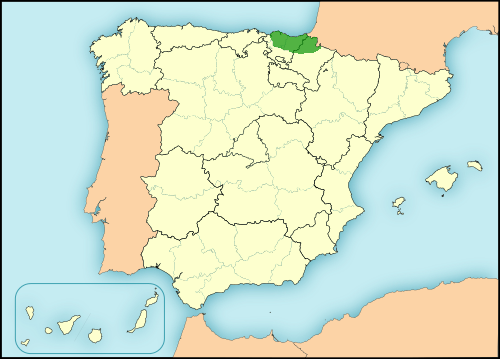 Basque language in Spain map