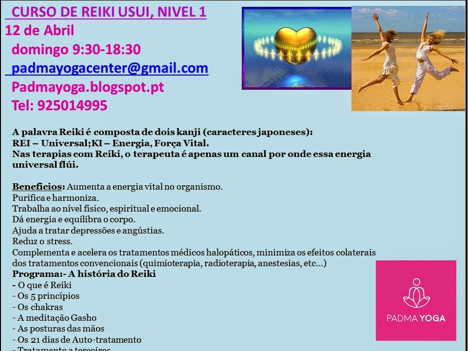 CURSO DE REIKI, NIVEL 1 , dia 7 de Junho