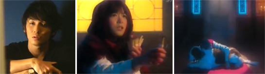 Chiaki imagines scenes involving Nodame selling matchsticks and hugging a dog in a church