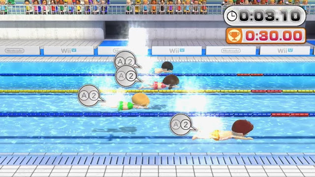 Screenshot of swimming minigame in Wii Party U