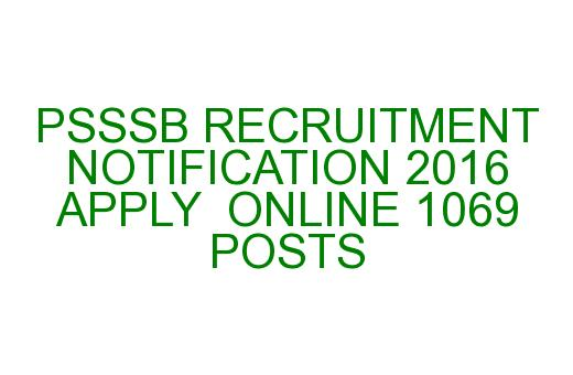 Psssb Recruitment Notification 2016 Apply Online 1069